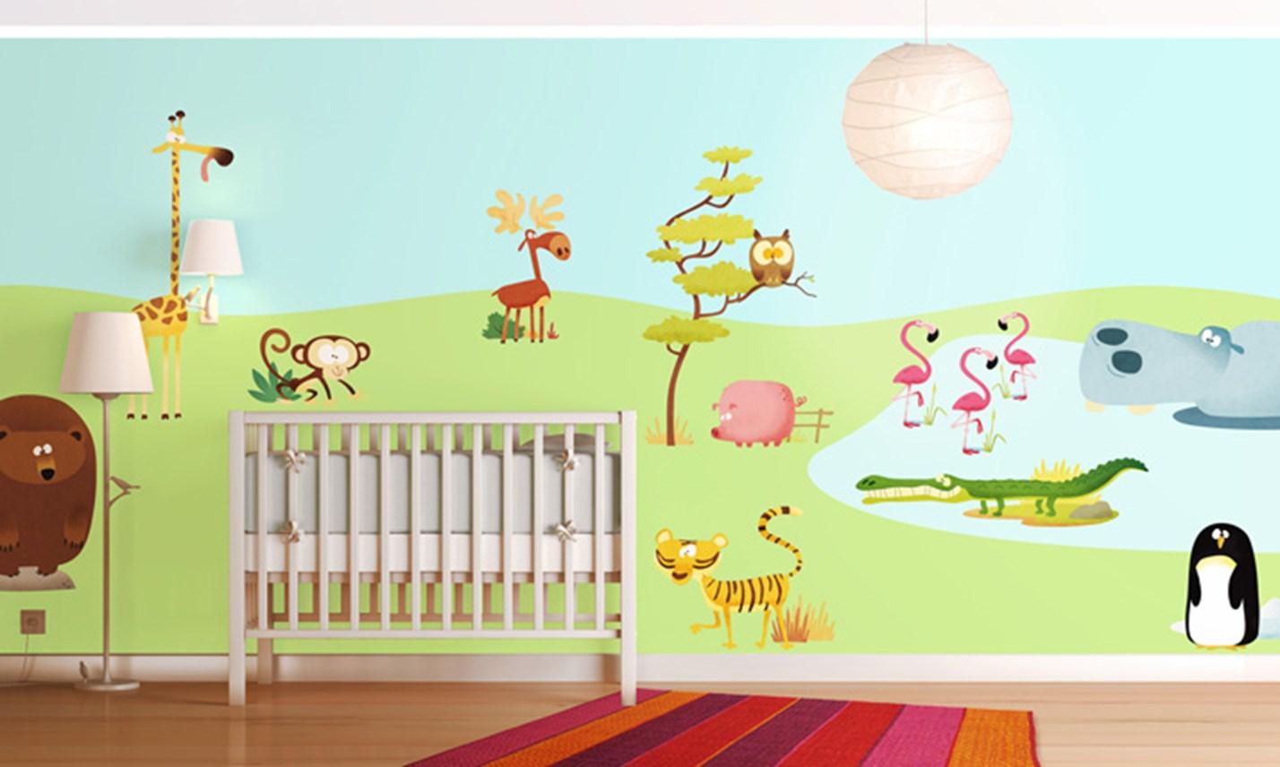Stickers murali bambini cameretta allo zoo leostickers - Decorazioni murali camerette ...